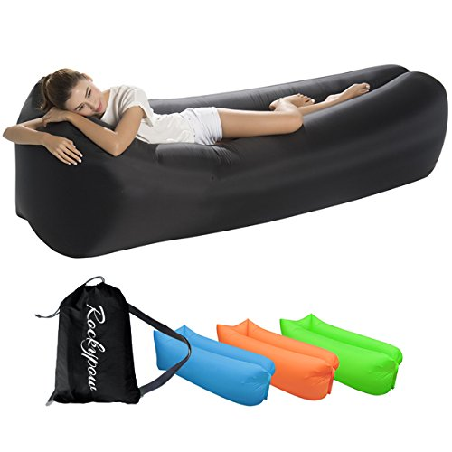 Inflatable Lounger – Portable Air Beds Sleeping Sofa for Travel, Camping, Beach, Park, Backyard, Hiking, Pool, Beach with Carry Bag (Black)