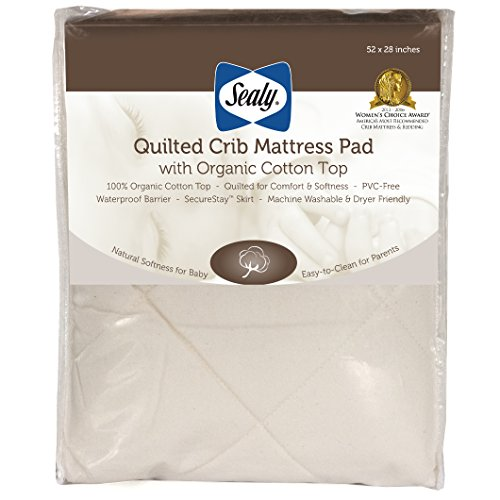Sealy Baby Quilted Fitted Crib/Toddler Mattress Pad with Organic Cotton Top