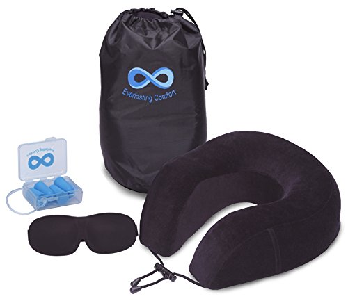 Everlasting Comfort 100% Pure Memory Foam Neck Pillow Travel Kit With Ultra Plush Velour Cover, Sleep Mask and Earplugs