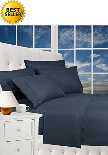 Best Seller Luxurious Bed Sheets Celine Linen 1800 Thread Count Egyptian Quality Wrinkle Free 4-Piece Sheet Set with Deep Pockets 100% HypoAllergenic, Queen Navy Blue