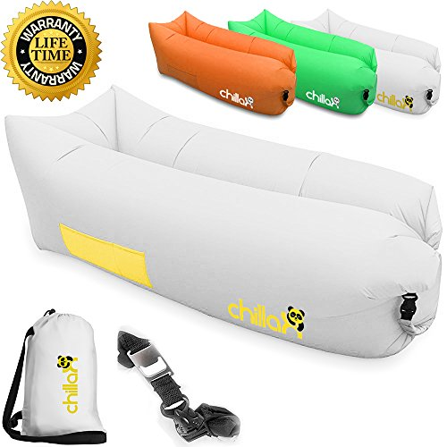 ChillaX Inflatable Lounge Airbed with Carry Bag and Bottle Opener, White Gold