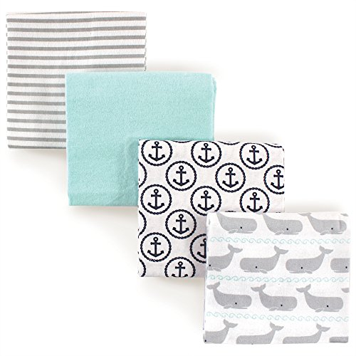 Hudson Baby Flannel Receiving Blankets, Whales