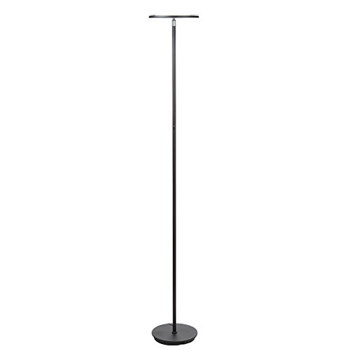 Brightech SKY LED Torchiere Floor Lamp – Dimmable 30 Watt Bright LED with Omni Directional Head – Modern Tall Standing Pole Uplight Light for Living Room Bedroom Office and Reading – Jet Black