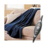 Sunbeam Microplush Electric Heated Throw Blanket Royal Blue
