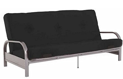 Modern Convertible Futon Sofa Bed Silver Metal Arm Futon Frame with Full Size Mattress