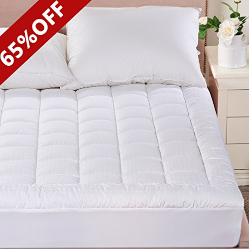 Merous Queen Size Cotton Hypoallergenic Fitted Quilted Mattress Pad Topper – Stretches up to 18 Inches Deep
