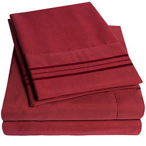 1500 Supreme Collection Extra Soft California King Sheets Set, Burgundy – Luxury Bed Sheets Set With Deep Pocket Wrinkle Free Hypoallergenic Bedding, Over 40 Colors, California King Size, Burgundy