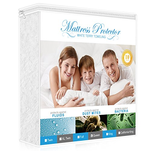 Lighting Mall Premium Mattress Protector Queen Size with Cotton Terry Surface – 100% Waterproof, Hypoallergenic,Vinyl-free and Breathable