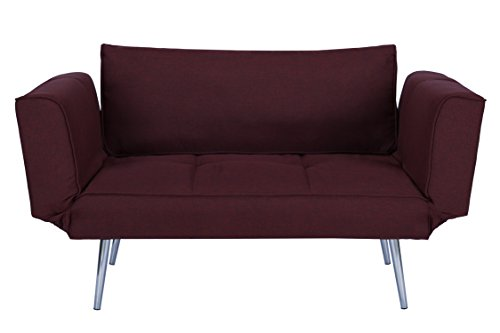 DHP Euro Sofa Futon Loveseat with Chrome Legs and Adjustable Armrests – Berry Purple