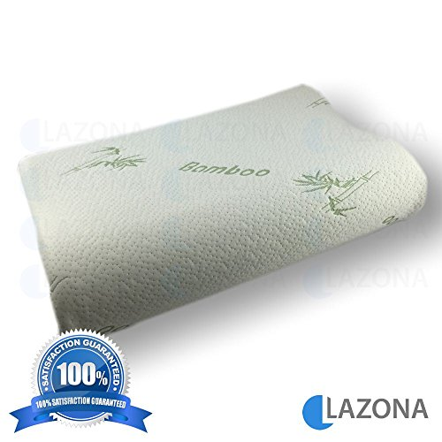 LAZONA Bamboo Memory Foam Contour Curve Orthopedic Support Hi-Lo Wave Pillow Removable Washable Soft Zip Kool-Flow Micro-Vented Bamboo Cover Queen Size