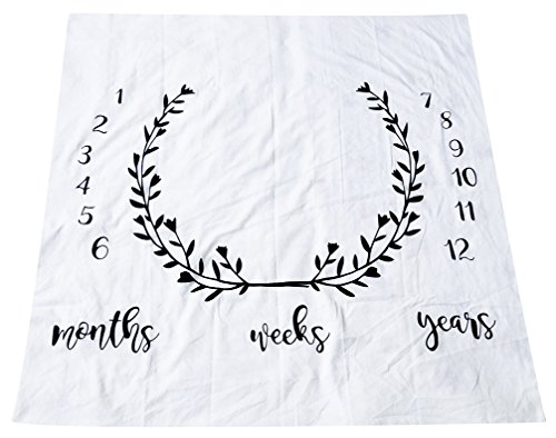 Newborn Baby Photography Photo Props,Printed Cotton Monthly Milestone Blanket,Baby Shower Gift,Baby Birthday Gift by EDCMaker