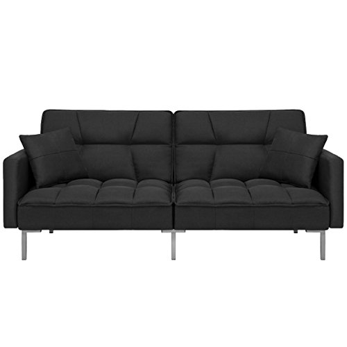 Best Choice Products Home Furniture Convertible Linen Tufted Splitback Futon Couch W/ Pillows (Black)
