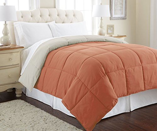 Amrapur Overseas | Goose Down Alternative Microfiber Quilted Reversible Comforter / Duvet Insert – Ultra Soft Hypoallergenic Bedding – Medium Warmth for All Seasons – [King, Rust/Oatmeal]