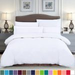 SUSYBAO 100% Cotton 3 Pieces Duvet Cover Set Queen Size 1 Duvet Cover 2 Pillow Shams Solid White Hotel Quality Ultra Soft Breathable Hypoallergenic Fade Stain Wrinkle Resistant with Zipper Ties
