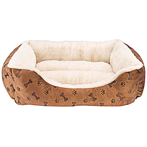 Rectangle Pet Bed with Dog Paw Printing (22″ x 18″)
