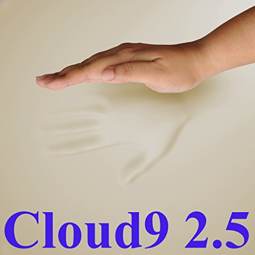 Waterproof Cover and Two Contour Pillows included with 2.5 Cloud9 Gel-Enhanced Queen 2 Inch 100% Visco Elastic Memory Foam Mattress Topper