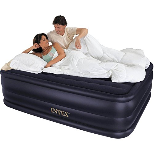 Intex Airbed With Built-in Electric Pump Queen Size 22″ Raised Downy Waterproof Air Mattress Bed Flocked Top Inflates Under 5 Minutes 60″W x 80″D x 22″H 600 lb capacity