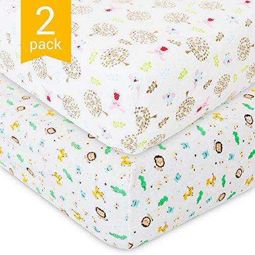 Crib Sheet – 2 Pack Baby Set – Rabbits and Lions – For Boys and Girls – 100% Soft Cotton – Bed Mattress Cover – by QAQADU