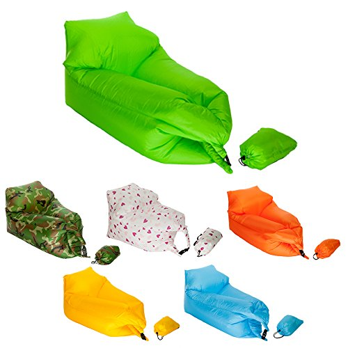 KickinIT Inflatable Air Chair Sofa or Blow up Couch or Camping Air Mattress or Pool Float (Green)