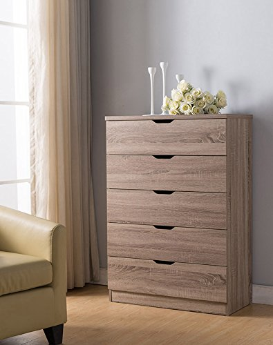 Eltra K Series Smart Home 5 Drawers Chest Dresser (5 Drawers, Dark Taupe)