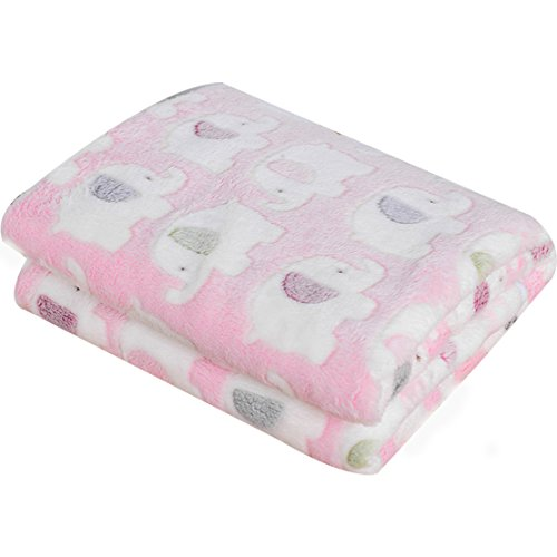 Loves Warm Pet Dog and Cat Blanket – Soft Fleece Pet Blanket for Couch, Bed, and Cars – Doggy Warm Bed Mat Elephant Print Blanket (S:4060cm/15.723.6in, Pink)