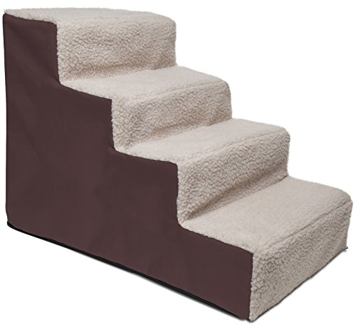 Paws & Pals Dog Stairs to get on High Bed for Cat and Pet Steps at Home or Portable Travel Up to 220 lbs – 4 Steps – Brown