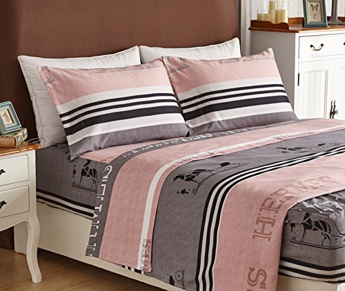 Bed Sheet Set 4-Piece,Brushed Microfiber 1500 Bedding.Extra Deep Pocket(18In), Fitted Sheet, Flat Sheet & 2 Pillowcase ( Pink/ Queen)