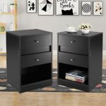 JAXPETY 2 Sets Home End Table/Core Nightstand Storage Shelf with Two Drawers Three Layer Cabinet Black