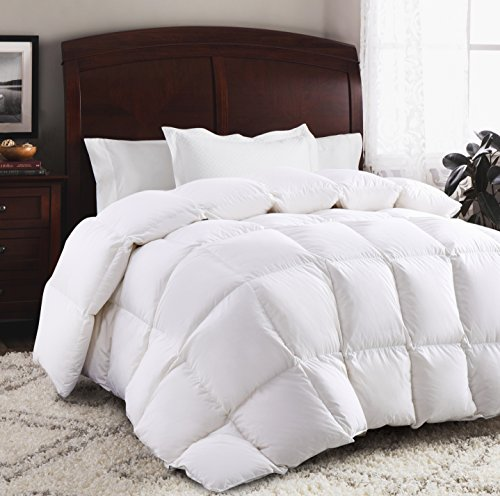 ROSECOSE Luxurious Goose Down Comforter Duvet Insert All Seasons Lightweight Solid White Hypo-allergenic 700 Thread Count 750+ Fill Power 100% Cotton Shell Down Proof With Tabs (King, White)
