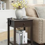 Espresso Finish Side End Table Nightstand with 3 USB Ports and Drawer