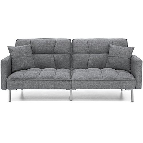 Best Choice Products Convertible Futon Linen Tufted Split Back Couch W/ Pillows (Dark Grey)