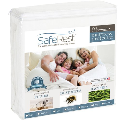 Twin Extra Long (XL) SafeRest Premium Hypoallergenic Waterproof Mattress Protector – Vinyl Free