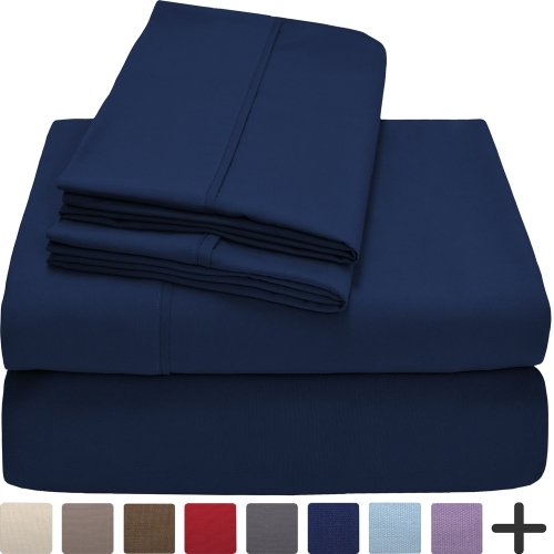 Premium 1800 Ultra-Soft Microfiber Sheet Set Twin Extra Long – Double Brushed – Hypoallergenic – Wrinkle Resistant (Twin XL, Dark Blue)