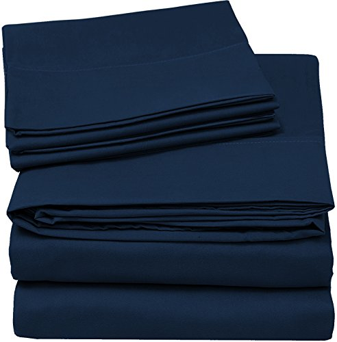 Utopia Bedding Soft Brushed Microfiber Wrinkle Fade and Stain Resistant 4-Piece Full Bed Sheet Set – Navy