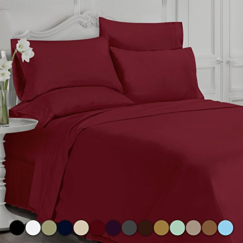 Swift Home Luxury Bedding Collection, Ultra-Soft Brushed Microfiber 6-Piece Bed Sheet Sets, Extremely Durable – Easy Fit – Wrinkle Resistant – (Includes 2 Bonus Pillowcases), Full, Burgundy