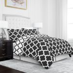 Egyptian Luxury Quatrefoil Duvet Cover Set – 3-Piece Ultra Soft Double Brushed Microfiber Printed Cover with Shams –Full/Queen – Grey/White