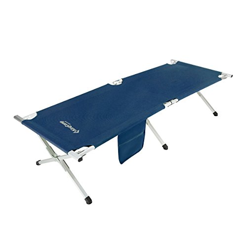 KingCamp Camping Cot Military Style AIRCRAFT GRADE Oversize Folding Bed Anodized Aluminum Frame Stable