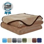 Luxury Fleece Super Soft Thermal Blanket Warm Fuzzy Microplush Lightweight Blankets for Bed Sofa, Seashell Series,Queen,90 by 90 Inches,Camel