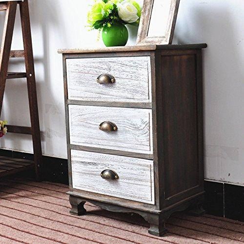 DL-Furniture Fully Assembled 2 Tone Finish Night Stand 3 Drawer Storage Shelf Organizer 100% Light Weight Basswood   2 Tone Finish