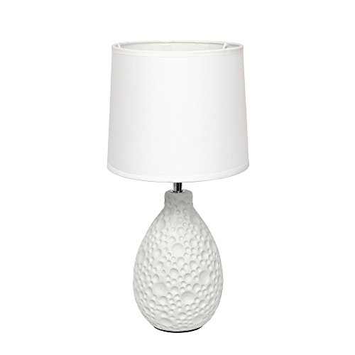 Simple Designs LT2003-WHT Texturized Stucco Ceramic Oval Table Lamp, White