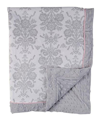 Laura Ashley Double Sided Infant Blanket, Damask Print on Mink with Popcorn Mink Backing