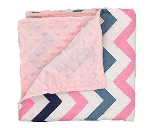 LAGHCAT Printed Mink Blanket with Dotted Backing Cartoon Bed Blankets for Baby, Lap Blanket for Kids. (32×30 inch,Pink Stripe)