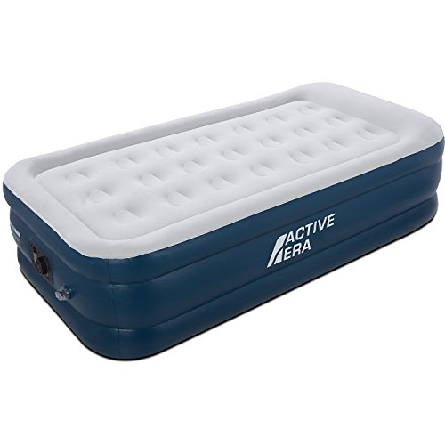 Premium Single Air Mattress Inflatable Air Bed with Electric Built-in Pump and Raised Pillow
