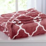 Ultra Velvet Plush All-Season Super Soft Luxury Bed Blanket with Lattice Scroll Design. Lightweight and Warm for Ultimate Comfort. By Home Fashion Designs Brand. (Full/Queen, Marsala Red)
