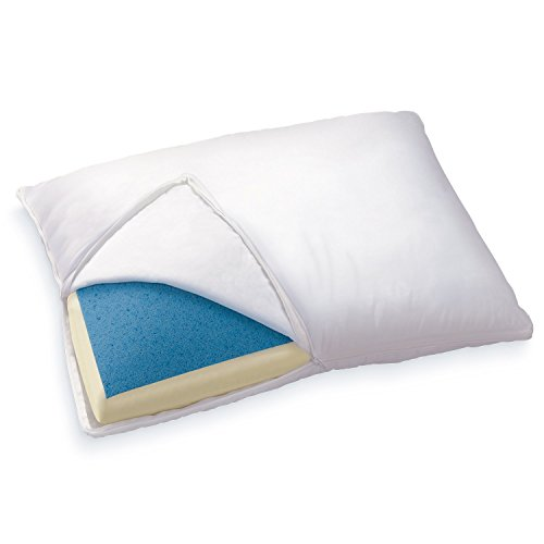 Sleep Innovations Reversible Gel Memory Foam and Memory Foam Pillow with Soft Microfiber Cover, Made in the USA with a 5-year Warranty – Queen Size