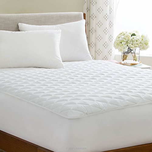 LinenSpa Waterproof Quilted Mattress Pad with Hypallergenic Fill & Deep Pocket Fitted Skirt, California King
