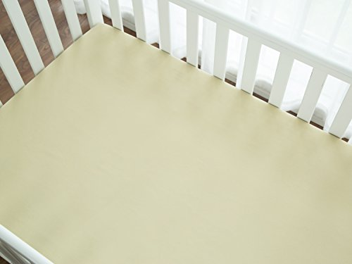 TILLYOU 100% Microfiber Baby Bed Fitted Crib Sheet, Silky Soft and Hypoallergenic Standard Crib Mattress Sheet Toddler Bedding 28×52 – Beige