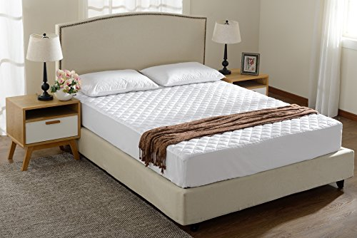 Queen Size Quilted Mattress Pad and Protector Fitted Up to 18″ Deep Mattress Cover For Extra Comfort and Protection by Cheer Collection