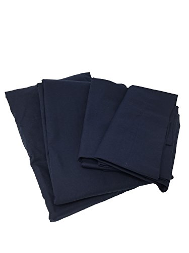 Cot Sheets (Fitted, Flat, Sets), 4 Piece Cot Sheet and Pillow Case Set – Navy- 1 cot fitted sheet 33″ x 75″, 1 cot flat sheet 64″x94″, 2 pillow cases 20″x30″