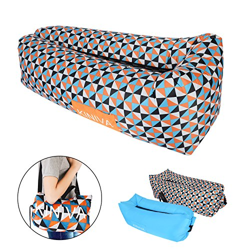 Inflatable Lounger, KINIVA Air Sofa Bed, Inflated Beach Couch Hammock Mattress Bag, Blow up Pool Camping Outdoor Portable Sleeper Sun Lounger-Flower